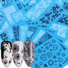 48 ورقة جديد الزهور الدانتيل مسمار الفن نقل المياه الشارات ملصقات الأظافر نصائح أسود/أبيض أدوات مانيكير لتجميل اليدين JISTZV001 048