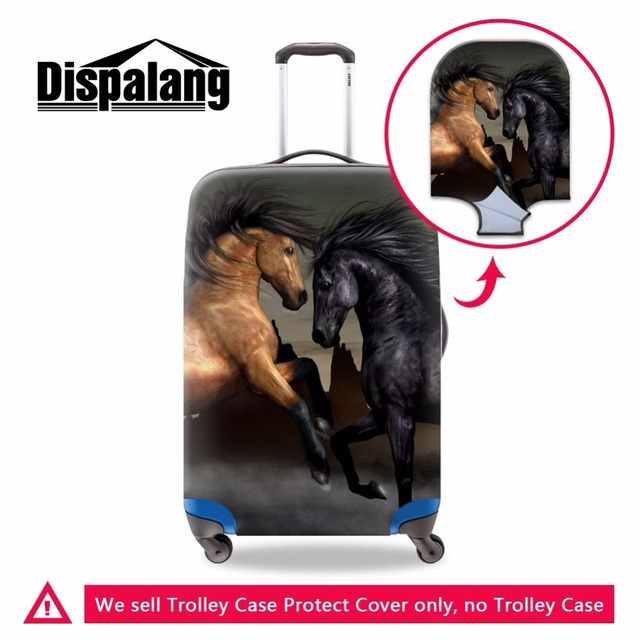 Dispalang cool men travel accessories horse print elastic waterproof luggage set cover beautician for suitcase protective cover