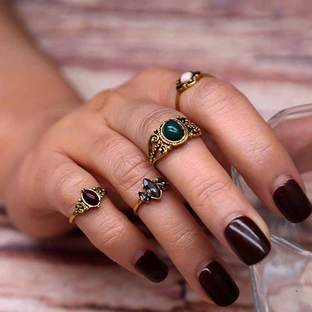 tomtosh 4 pcsset vintage ring sets antique alloy nature blue stone midi finger rings for women steampunk turkish ring - Steampunk Wedding Rings