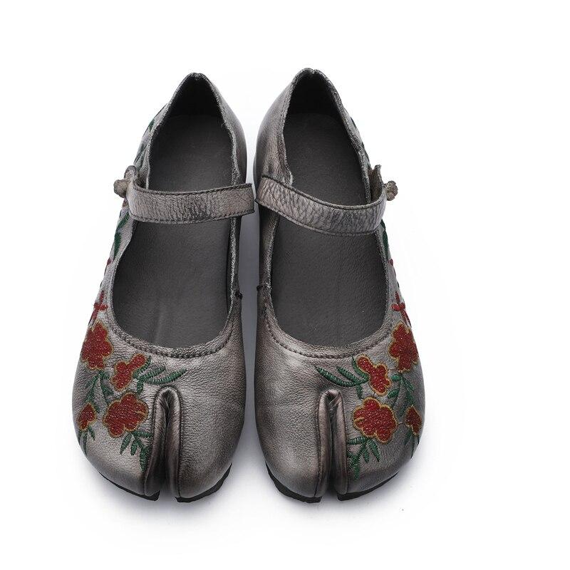 Talon Main Broderie Faible Appartements Jane Véritable 2019 Chaussures Mary Cuir À La Rétro Sangle Gris Femmes Cheville chocolat Printemps En 7Og56xq7dw