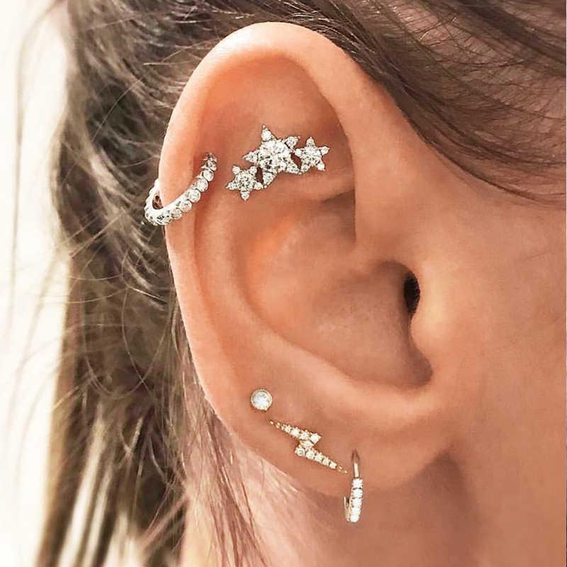 c9f13bb05 26 Style Bohemian Retro Silver Earrings Set Women Feather Fatima Hands Leaf  Owl Star Ear Studs