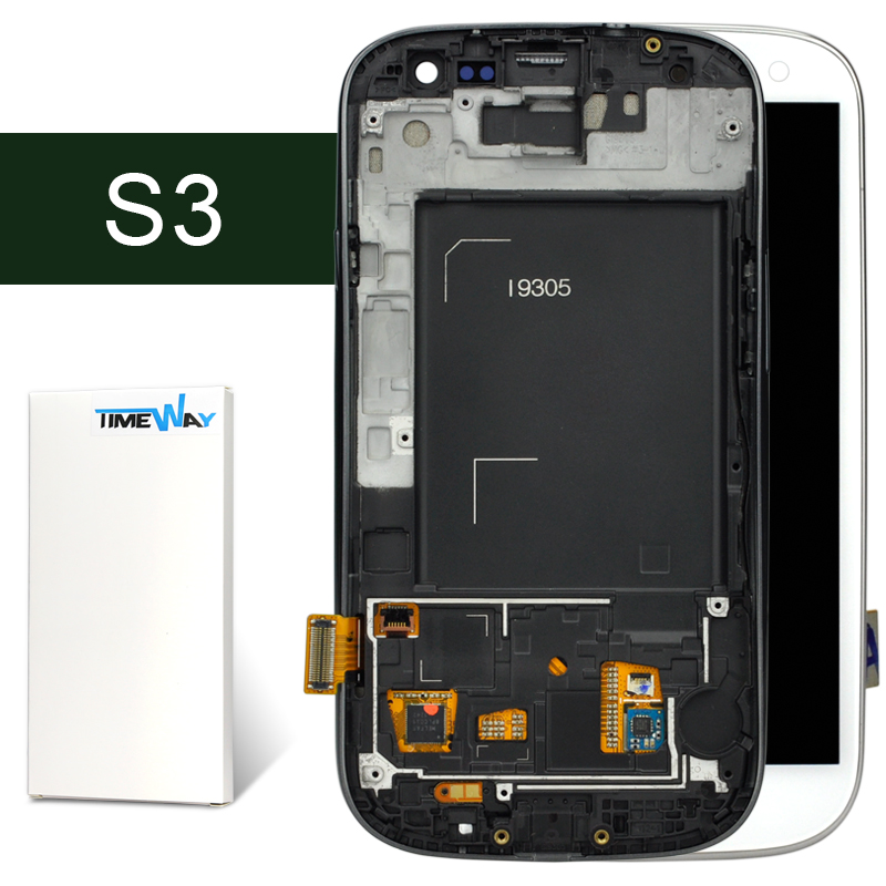 AAA DHL 100% work LCD Screen Digitizer With Frame For Samsung S3 III i9300 Display Assembly Blue/White Color