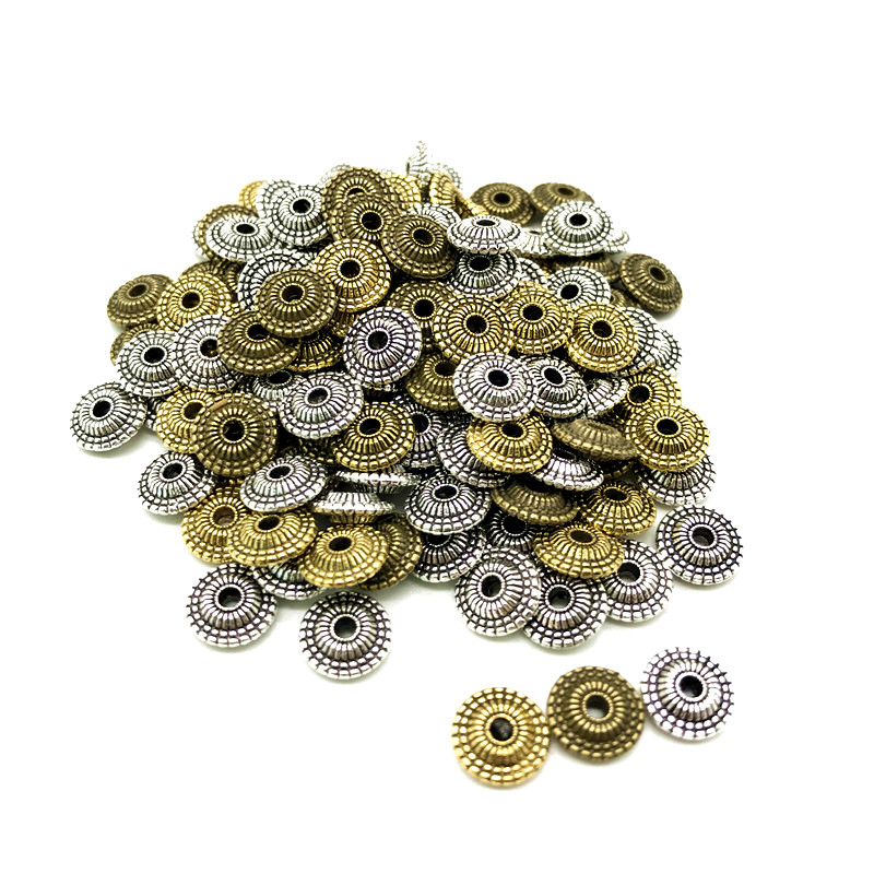 30pcs/bag 8mm Metal Beads Antique Gold Silver Oval Loose Spacer Beads For Jewelry Making DIY Bracelet