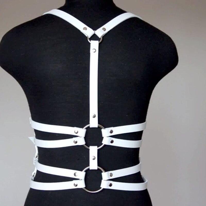2018 New Harajuku Gothic Bodysuit Lace White Bdsm Fetish Strap Lingerie Sexy Fashion Womens Leather Harness Stockings Belt