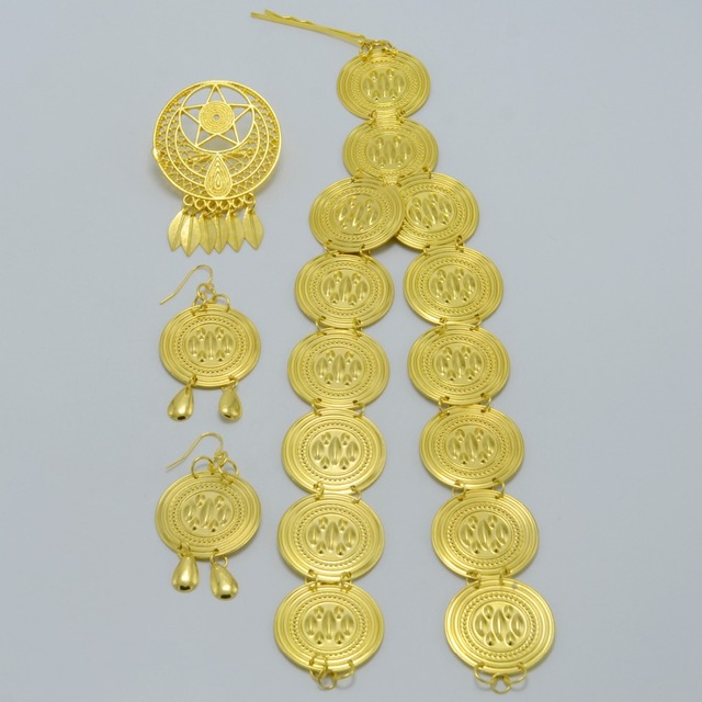 2017 New Ethiopian set Jewelry Earrings and Head Hair Jewelry(3pcs)Habesha sets Silver/Gold Plated Africa Eritrea Sets #052006