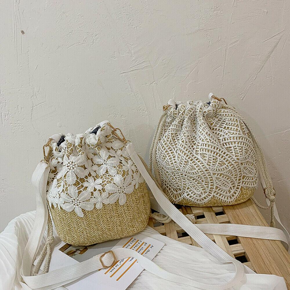 New Lace Applique Straw Bag Women's Beach Bag Rattan Hand-woven Bohemian Shoulder Bag