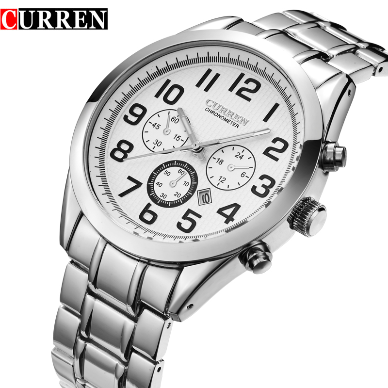 2016 New CURREN Brand Business Men Male Luxury Quartz  Watch Casual Full Steel  Wristwatches relogio masculino 8050 new fashion men business quartz watches top brand luxury curren mens wrist watch full steel man square watch male clocks relogio
