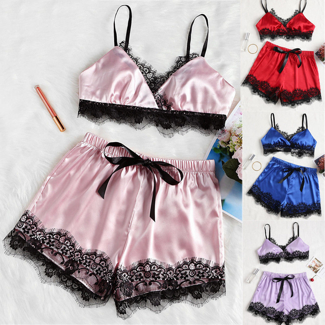 d84a7a4258 Women Sexy Lingerie Sleepwear Satin Silk Lace top and Shorts pajamas set Nightwear  Lace pyjama femme