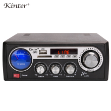 лучшая цена Kinter-003 mini amplifier audio stereo sound supply power 220V and DC12V offer USB SD card input FM radio remote control