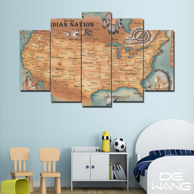 Large watercolor canvas art picture retro indian maps world map wall large watercolor canvas art picture retro indian maps world map wall 5 painting art prints for gumiabroncs Images