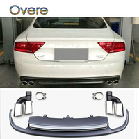 Overe 1set Grey PP Car Rear Lip Diffuser Spoiler with Exhaust Tips Pipe for Audi A7 2012 2013 2014 2015 hatchback Accessories