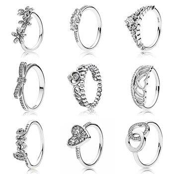 1ea65a7cc3cf De cuento de hadas princesa Tiara Corazón de invierno de anillo de Plata de  Ley 925 anillo de la firma para las mujeres de la boda de la joyería de  Pandora