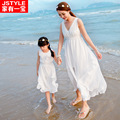 2017 dresses mother daughter dresses fashion mom and daughter dress polyester family look sleeveless solid	1944
