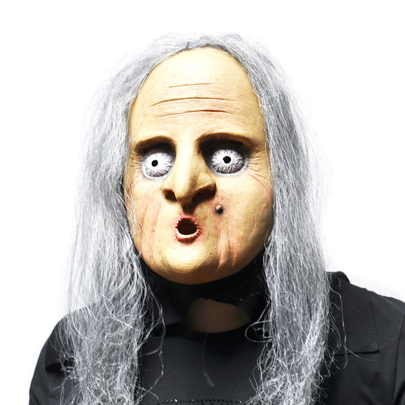 silver haired old witch mask halloween terror latex party masks novelty creepy costume props mascara cosplay