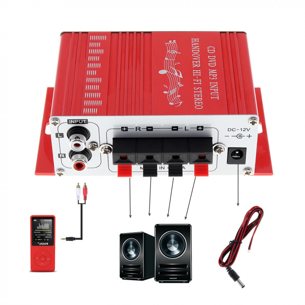 Mini Car Amplifier Motorcycle Home Boat Auto Stereo Audio Amplifier 2 Channel Digital Hi-Fi Amp Support CD DVD MP3 Input