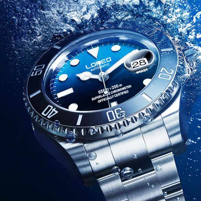 2019 新 20bar ダイビング腕時計自動高級ブランド loreo サファイア機械式時計の男性カレンダー発光水ゴースト緑の時計