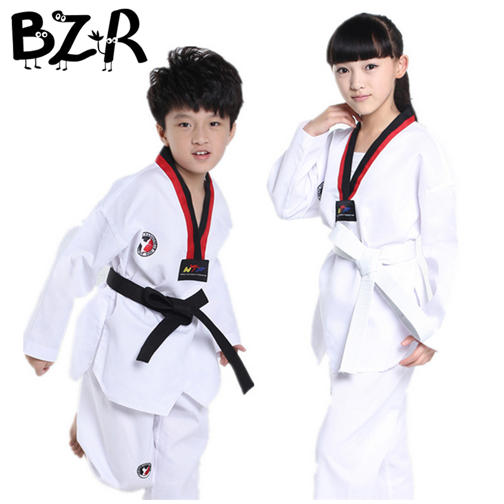Bazzery Taekwondo Uniform TKD Outfit Costumes for Children Training & Competition WTF Clothes Long/Short Sleeve Karate Uniforms