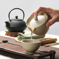 新しいスタイルセラミックカンフー茶セットハンドメイド原油陶器ケトル茶ポット含める1ポット1カップgaiwan中国レトロ宜興サービ