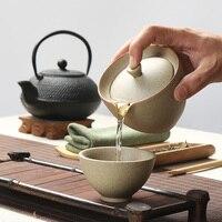 New Style Ceramic Kung Fu Tea Set Hand Made Crude Pottery Kettle Tea Pot Include 1