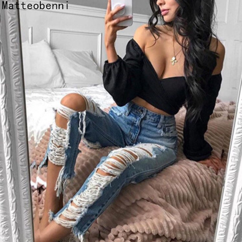 2018 Autumn High Waist mom   jeans   Female Boyfriend   Jeans   For Women Trousers Pencil Pants Denim tassel Ripped   Jeans   Plus Size
