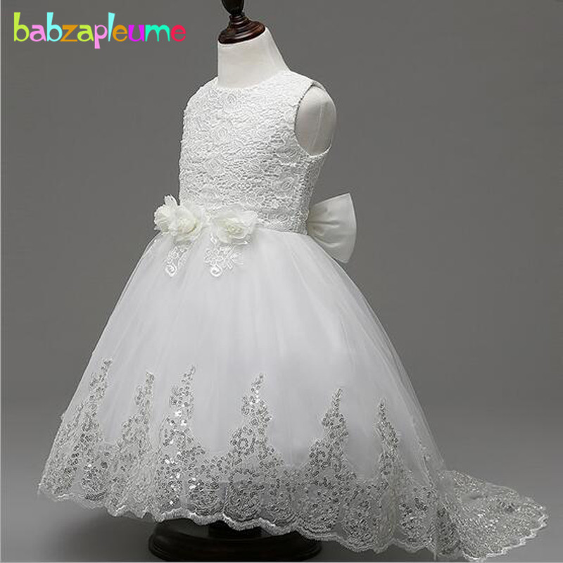 Summer Kids Girls Birthday Evening Party Dresses Baby Flower Tutu Wedding Dress Princess Costume Children Clothing 4-10T BC1435  summer baby girls party vest dress linen cotton ruffle tutu dress for girl kids 1st birthday princess dresses children clothing
