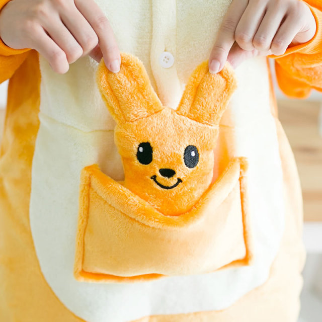 Adult Kigurumi Winter Orange Kangaroo Pajamas for Women Girls Unisex Hooded Homewear Flannel Cute Sleepwear Cartoon Pyjama
