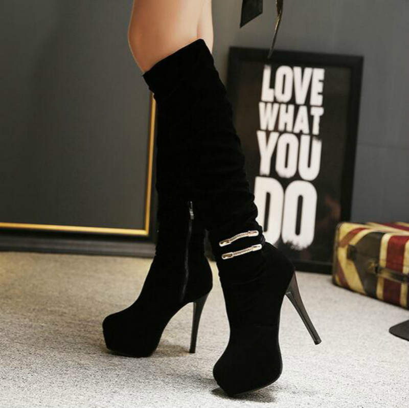 12CM high knee boots with the knee Thin with thin boots Nightclubs waterproof platform sexy metal chain suede female boots