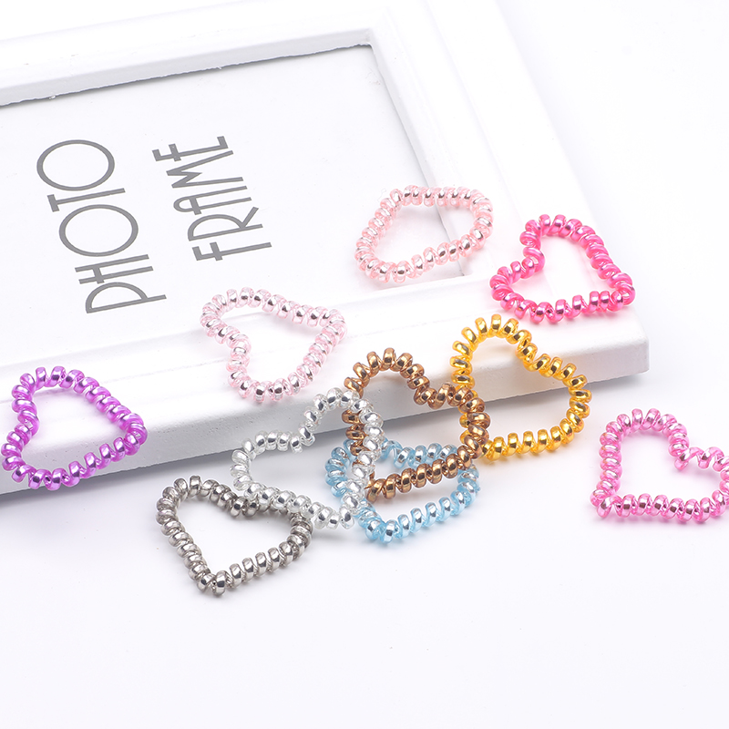 10pcs Multicolor Elastic Hair Bands Love Heart Shape Gum Rubber Band Telephone Wire Ponytail Hair Ties Hair Accessories for girl in Women 39 s Hair Accessories from Apparel Accessories