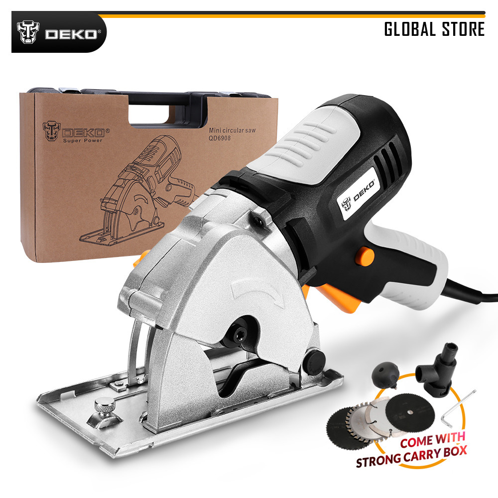 DEKO DKMS85Q2 26mm Depth Mini Circular Saw With 4 Blades, BMC Box Electric Wood Saw Personal Safety & Electrical Safety System