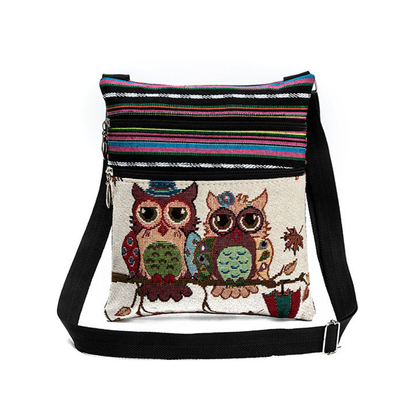 Fashion Ethnic Style Women Messenger Bags Dual Zipped Cartoon Owl Embroidered Shopping Dating Ladies Girls Shoulder Bag Bolsa