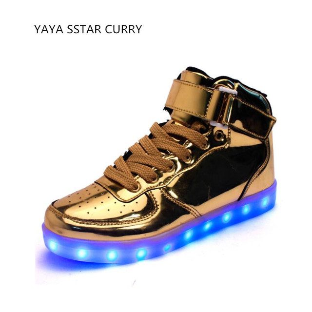 2eca8e218d5c 2017 new high to help light shoes gold and silver LED shoes Air Force One  big size bright light shoes colorful flash shoes