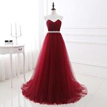 Einfache 2020 Frauen Wein Roten Abendkleid Formale Tüll Kleider Herzförmiger ausschnitt Pailletten Perlen Prom Graduation Party Kleid
