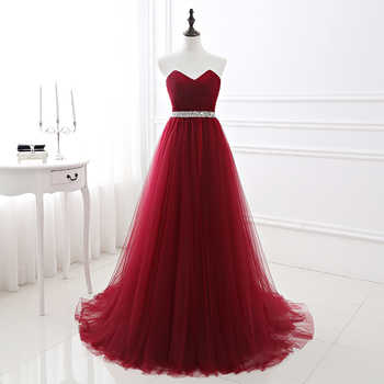 Simple 2018 Women Wine Red Evening Dress Formal Tulle Dresses Sweetheart Neckline Sequin Beaded Prom  GraduationParty Dress - DISCOUNT ITEM  5% OFF All Category