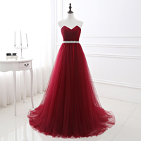 Simple 2018 Women Wine Red Evening Dress Formal Tulle Dresses Sweetheart Neckline Sequin Beaded Prom GraduationParty Dress