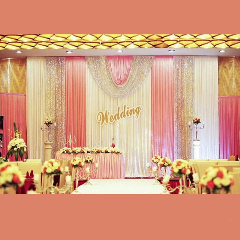 Aliexpress Buy DHL Ice Silk Sequins Wedding Backdrop 3X6M Background Curtain Stage Backdround Decoration High Qaulity From