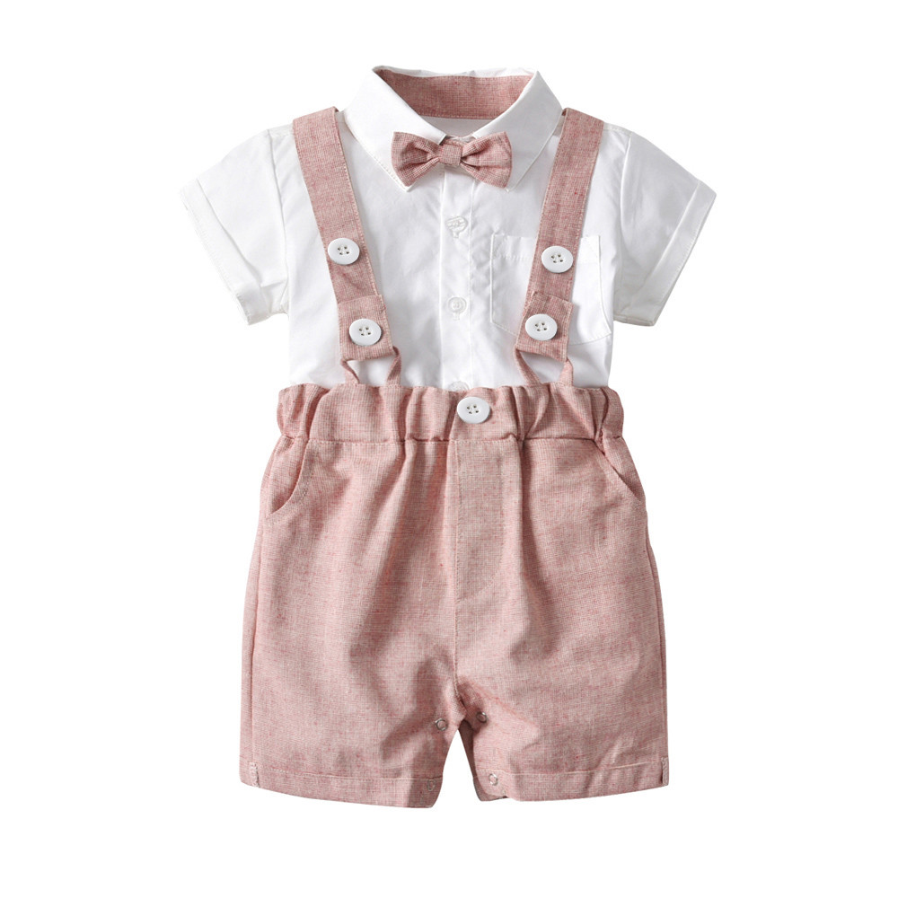 2018 Quality Product Kids Baby Boys Summer Gentleman Bowtie Short Sleeve Shirt+Suspenders Shorts Set JU 11