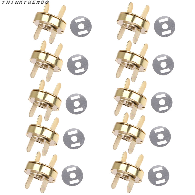 THINKTHENDO Hot New 10 Pcs Magnetic Snap Buckle For DIY Clasps Closure Handbag Purse Bags Accessories High Quality