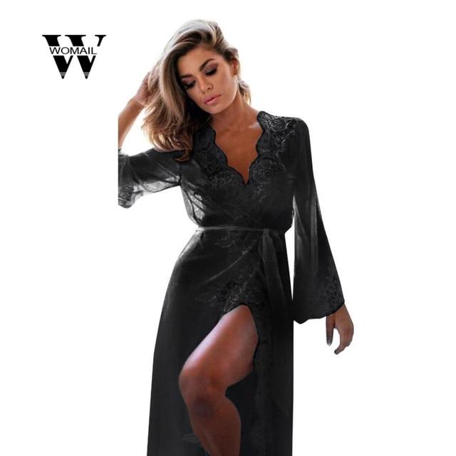 85852dbf7c8 2018 hot sale Women Long Sleeve Sleepwear Sexy Lingerie Babydoll Underwear  Lace Coat Nightwear+G-string New Arrival Mar 26