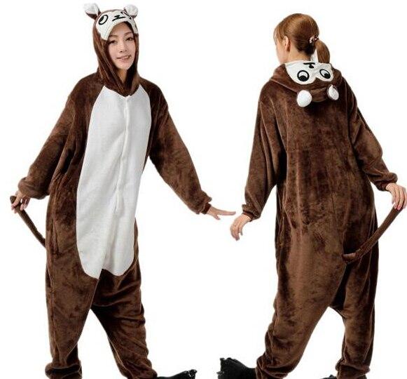 Flannel Novelty Animal Monkey Adult Unisex Women Mens Pajamas Halloween Christmas Party Costumes Jumpsuit