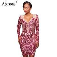 Abasona Women Sparkle Sequin Dresses Evening Party Wear Long Sleeve Bodycon Pencil Dress Sexy Female Vintage
