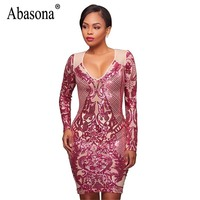 Abasona Women Sparkle Sequin Dresses Evening Party Wear Long Sleeve Bodycon Pencil Dress Sexy Female Vintage