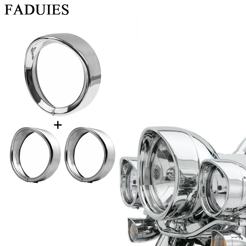 7inch Black/Chrome Headlight Headlamp Trim Ring + 4.5 Inch Fog Light Trim Ring For Harley Touring Road King Electra Glide