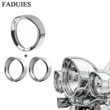 7-дюймовый черный/хром фар фары отделка кольцо + 4.5 дюймов противотуманных фар отделка кольцо для Harley Touring Road king Электра Glide