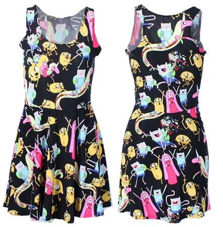 VI модные x-208 новинка 2015 летнее платье Для женщин время приключений Платье с принтом Для женщин приталенное платье