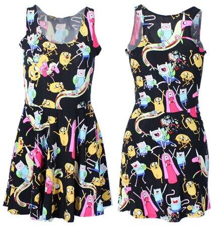 VI Fashion X-208 2015 new Summer dress Women adventure time Print Dress  women skater dress