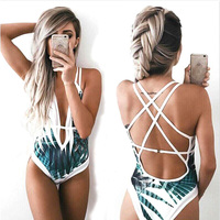 Sexy Deep Plunge Tropical Palm Leaf Trikini Bathing Suit Monokini Mesh Plus Size Swimwear Women One