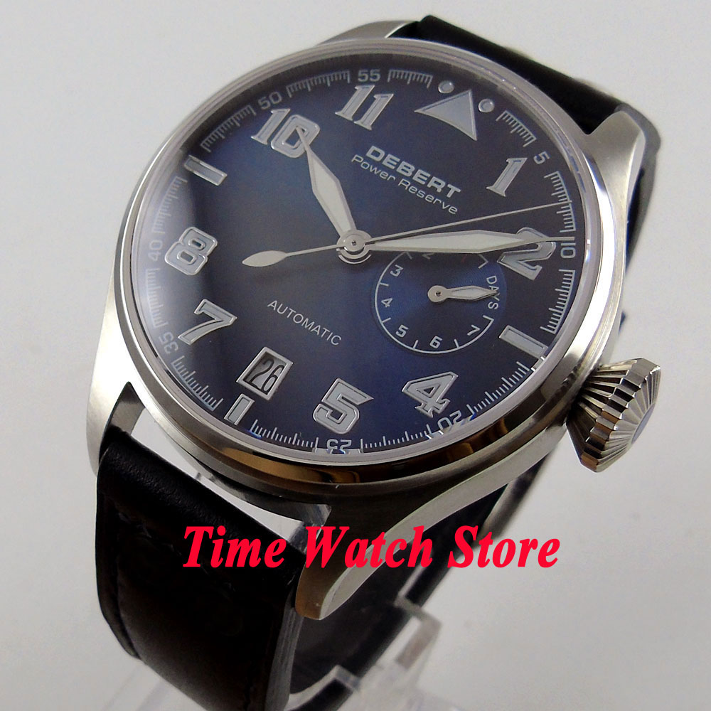 42mm DEBERT men's watch Blue dial luminous power reserve sapphire glass Automatic wrist watch men Cor88 цена и фото