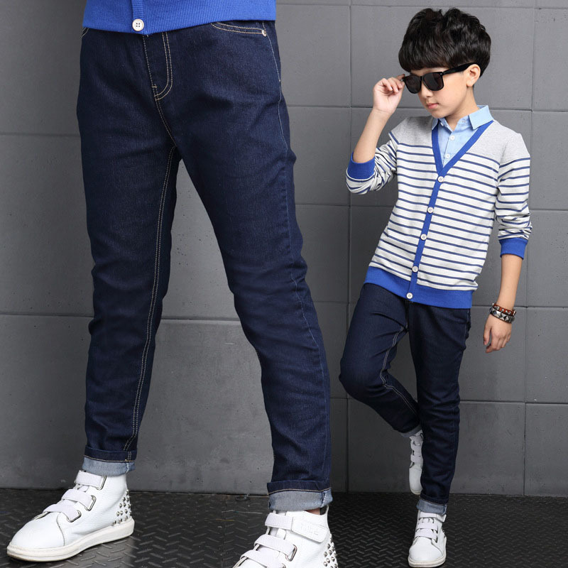 Boys Jeans Color Baby-Boy Kids Children's Pants Trousers Navy-Blue Autumn And Spring