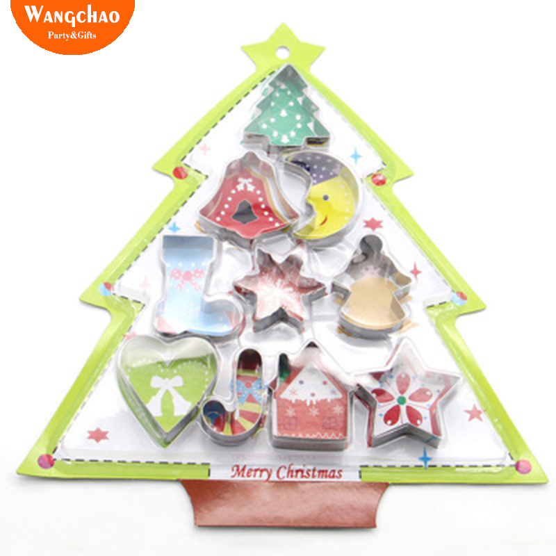10pcsset Christmas Tree Cake Baking Tool Stainless Steel Cookie Cutting Die Baking Mold Christmas Decorations Christmas Deals