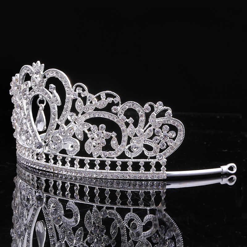Prachtige Hart Bruiloft Tiara Sieraden Sets Diadeem Shiny Bridal Crown Queen Tiara Shining Rhinestone Crystal Haar Sieraden Sets
